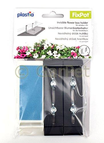 Plastia FixPot Halterung Blumenkasten Fensterbank unsichtbare Befestigung ohne Bohren anthrazit