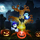 8 Foot High Halloween Blow Up Inflatables Dead Tree with White Ghost,Pumpkin and Owl for Halloween Yard Outdoor Decorations (Halloween...
