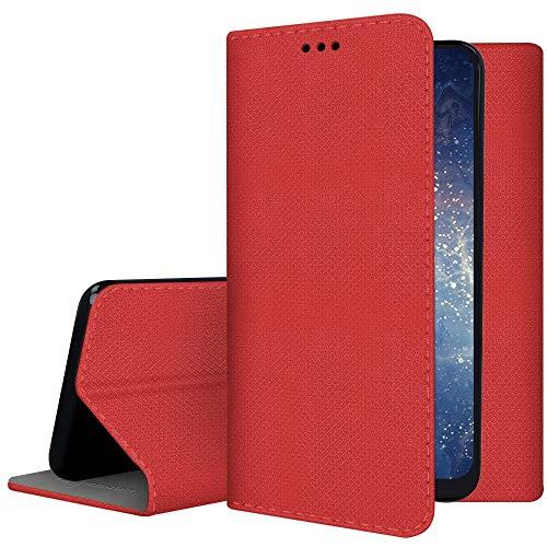 compatibile per HUAWEI NOVA YOUNG 4G LTE MYA-L11 / Y5 (2017) MYA-L03 L23 L02 L22 Custodia COVER stand LIBRO GEL silicone TPU eco pelle PORTAFOGLIO magnete interno porta carte (Rosso)