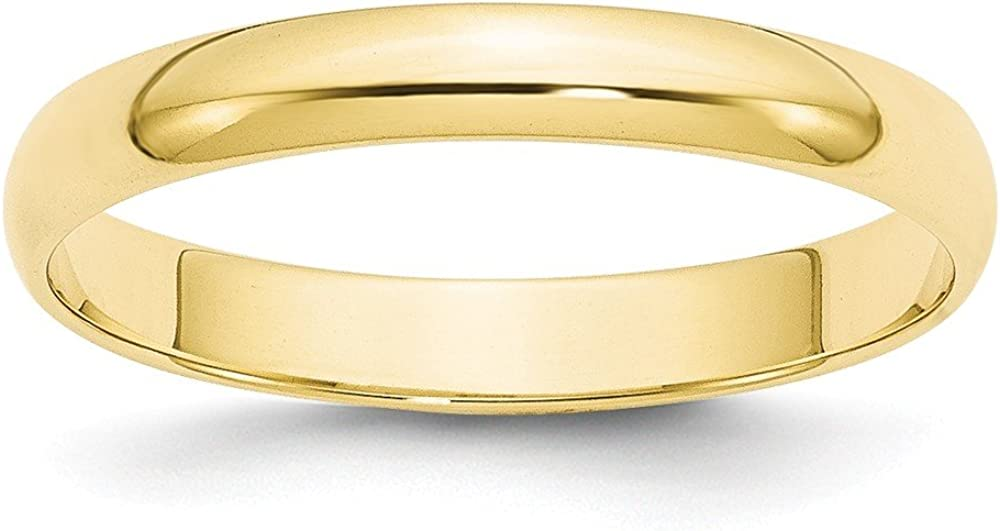 10k Yellow Gold 3mm Half Round Wedding Ring Band Size 10.5 Classic Fine Jewelry For Women Gifts For Her