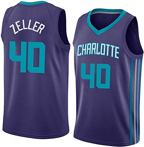 GLACX Ropa de Baloncesto para Hombre, (3 Estilo) NBA Charlotte Hornets 40# Zeller Classic Jersey, Fresco Tela Transpirable Retro Deportes Camisetas, Fan Unisex Swingman Jerseys,A,M