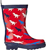 Hatley Boys' Printed Rain Boots, T-Rex Silhouettes, 5 Toddler M