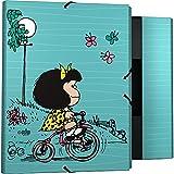 Mafalda 82402639. Carpeta 3 Solapas, Cartón Forrado, Tapa Dura, Tamaño Folio, Colección Mafalda Bici, Certificado FSC