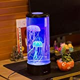 TLT Retail Electric Jellyfish Tank Table Lamp with 5 Color Changing Light, Fantasy Jellyfish Lava Lamp Round with 18 LED lights & US Plug, Office Home Deco for Room Mood Light for Relax (Multicolor)