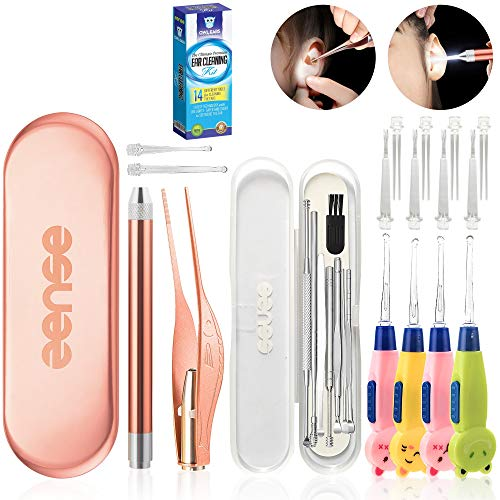 Öowl Ear Premium 14 Piece Ear Wax Removal Tool with LED Light - Ear Pick Cleaner Kit & Tweezers...