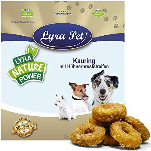 Lyra Pet® 1 kg Kauringe mit Hühnerbruststreifen Hundefutter Snack fettarm schonend getrocknet getrocknet Leckerli Kausnack Kauartikel für Hunde Kauspaß