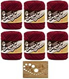 Bulk Buy: Lily Sugar'n Cream Yarn 100% Cotton Solids and Ombres (6-Pack) Medium #4 Worsted with Bamboo Knitting Gauge (Wine 00015)