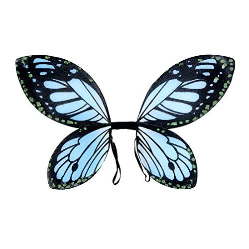Amakando Ailes de Papillon Ailes d'elfe pour Enfant Bleu-Noir ailettes de fadette Enfants Accessoires Costume Personnage de Conte ailettes fée Clochette soirée à thème