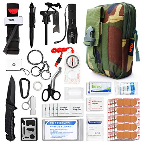 Kitgo Emergency Survival Gear and Medical First Aid Kit - IFAK Outdoor Adventure Camping Hiking Military Essential - Pro Compass, Fire Starter, Tourniquet, Flashlight and More(Deep Camo Green)