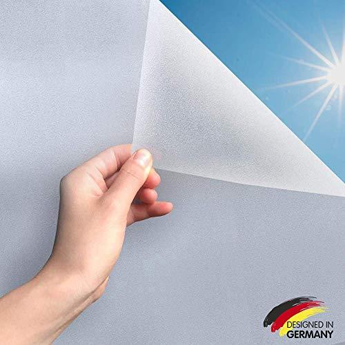 MARAPON ® Fensterfolie selbsthaftend Blickdicht [45x200 cm] inkl. eBook mit Profitipps - Sichtschutzfolie Anti-UV mit statischer Haftung - Milchglasfolie