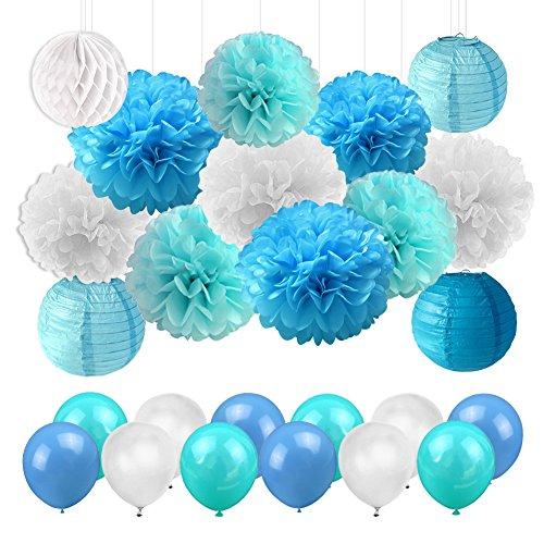 LUCK COLLECTION Blaue Dekorationen Seidenpapier Pom Poms mit Papierwaben-Ball-Papier-Laternen-Ballonen für Abschluss-Baby-Duschen-Geburtstags-Party-Dekorationen