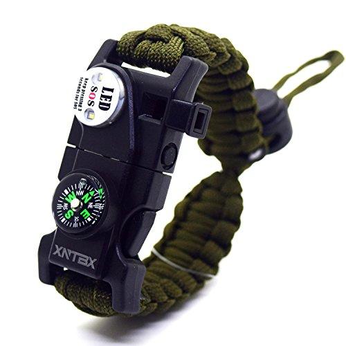 XNTBX Survival Paracord Bracelet - Survival Gear Kit with SOS LED Light, Compass, Fire Starter, Whistle, Scraper, Emergency Knife Best Wilderness Survival-Kit for Hiking/Camping (Green)