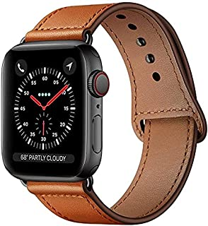 KYISGOS Compatible with iWatch Band 44mm 42mm, Genuine Leather Replacement Band Strap Compatible with For apple watch Seri...