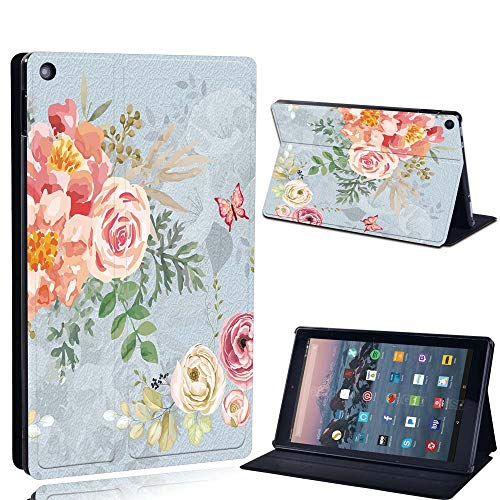 FINDING CASE For Amazon re HD 10 (5th 7th 9th Gen) Tablet - Printed PU Flip Leather Smart Lightweight Shell Stand Cover Case for re HD 10 (5th 7th 9th Gen) (vintage floral paint)