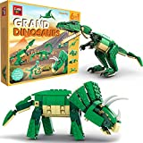 SmartEmily Cubb Toys, Grand Dinosaurs 6in1 Dinosaur Toy Set, Building Blocks for Boys and Girls, Build a T-rex, Velociraptor, Apatosaurus, Pterodactyl, Triceratops, Ankylosaurus (672 Pieces)