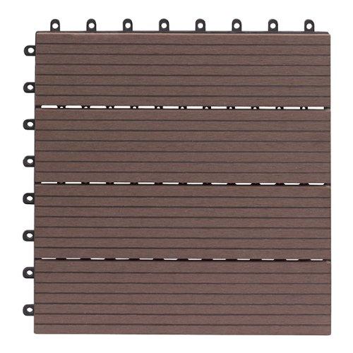 Gartenfreude EVERFLOOR WPC (=Holz/Kunststoff-Gemisch) Terrassenfliesen Massivprofil, Braun, 10 Stück, 30 x 30 cm (ca. 0,9m2)
