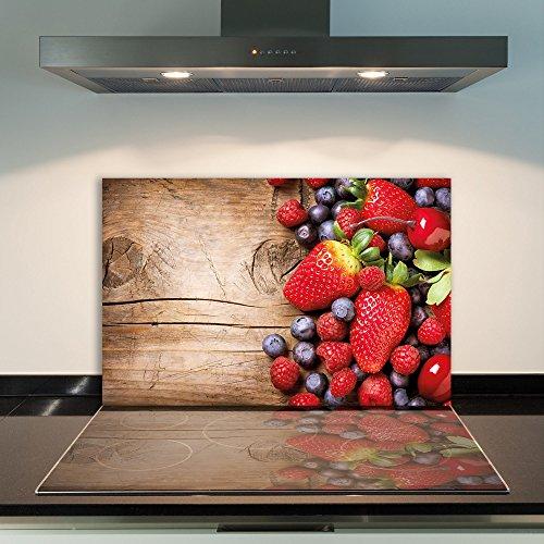 DAMU Cubrir la Vitrocerámica 1Piezas 80x 52cm Cubiertas de Cristal Fruta Rojo Eléctrico Horno Cocina de Inducción Placa de Protección contra Salpicaduras Cristal–Tabla de Cortar