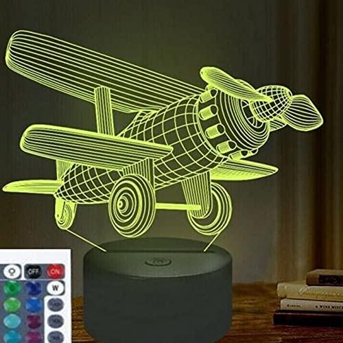 3D avión noche luz USB interruptor remoto decoración mesa escritorio ilusión óptica Lámparas 16 luces cambiantes de color lámpara de mesa LED hogar amor cumpleaños niños decoración regalo juguete