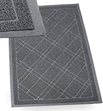 IPRIMIO Bathroom Mat for Shower, Bath, Low Profile. Non Slip, Nursing Homes, Bathtub and Sink – 35x23 Gray Plaid Design – Duraloop Anti Slip Durable Washable - Strong Dirt Absorbent Inside Floor Mat