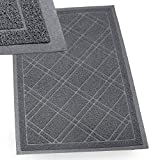 IPRIMIO Bathroom Mat for Shower, Bath, Low Profile. Non Slip, Nursing Homes, Bathtub and Sink – 35x23 Gray Plaid Design – Duraloop Anti Slip Durable Washable - Strong Dirt Absorbent Inside Floor Mat