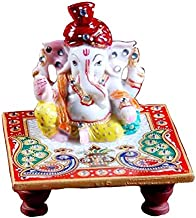 Fashion Bizz White Marble Chowki Pagdi Ganesh Idol