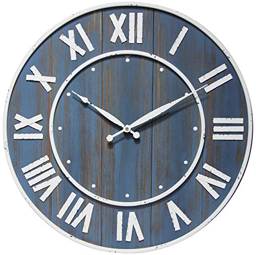 Infinity Instruments Wine Barrel 24 inch Wooden Wall Clock Oversized Decor Large Numbers Living Room Farmhouse Rustic Decor Battery Operated Wall Clock (Blue)
