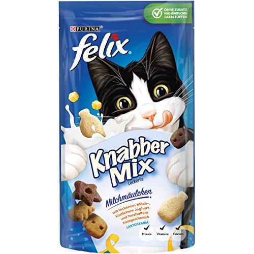 Felix KnabberMix Kattensnacks met eiwitten, vitaminen & Omega 6, kattensnacks zonder toevoeging van kunstmatige kleurstoffen, hoeveelheid: 8-pack (8 x 60 g zak)
