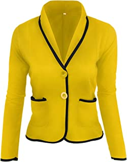 COMVIP 2Kinds Womens Office Work Lapel Button Blazer Suit with Pockets