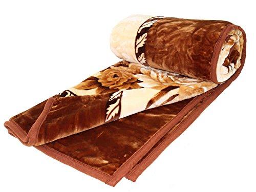 HAFIX Kuscheldecke Tagesdecke Wolldecke Überwurfdecke in 200x240cm Braune Blume, für wohlige Wärme auf dem Sofa und im Bett aus 100% Polyester