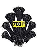 700Pcs Zip Ties Assorted Sizes Cable Ties Black Wire Ties Reusable Ties Zip Tie Cable Tie Zipties Tie Wraps Big Pack Plastic Ties for Cable Management Computer building, Electronics