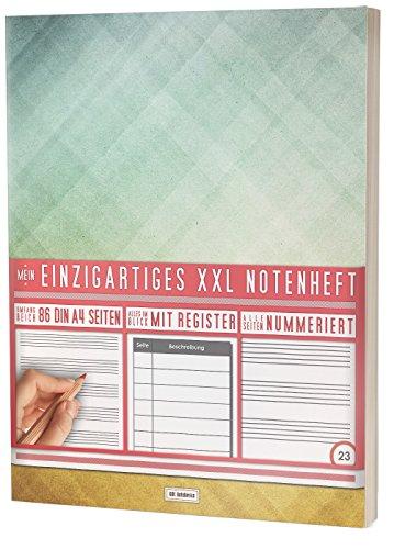 """Mein Notenheft / 86 Seiten, 44 Blätter, 12 Systeme / Mit Register und Seitenzahlen / PR301 """"Dreiecke"""" / DIN A4 Soft Cover"""