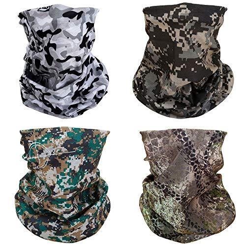 ACBungji 4er Multifunktionstuch Gesichtsmaske Set Motorradmaske Blume Muster Sturmmaske Maskewboard Paintball Fahrrad Bergsteigen Trekking Skateboarden Angeln(Camouflage Set 2)