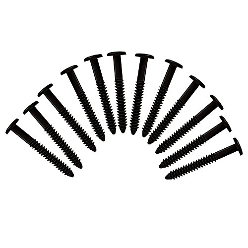 (Black) Pack of 12 Vinyl Shutter Fastener Spike Loks for Installing Decorative Exterior Vinyl Shutters