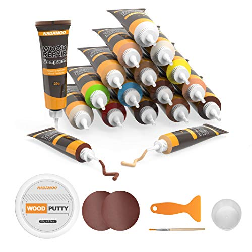 NADAMOO Floor and Furniture Repair Kit 18 Colors with Wood Filler Putty, Stain Touch Up Scratch Crack Hole Repair for Wall Hardwood Laminate Floor Wooden Table Door Cabinet, Black White Oak Cherry.