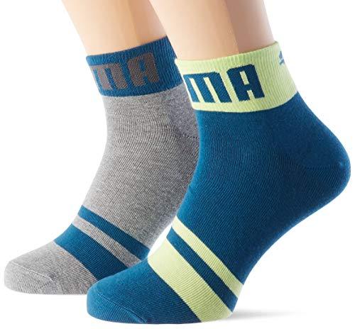 PUMA Mens Seasonal Logo Men's Quarter (2 Pack) Casual Sock, Petrol Blue, 39/42 (2er Pack)