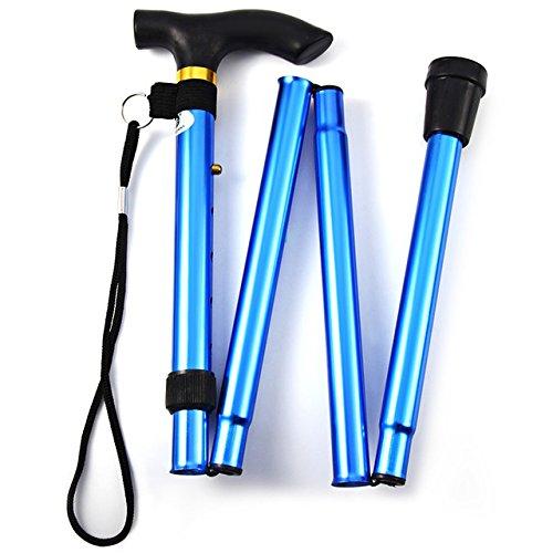 Hangang Gehstock, Gehstock, Klappstock, Fallschutz, faltbar, Aluminium, Ultraleicht, für jeden geeignet (Blue)