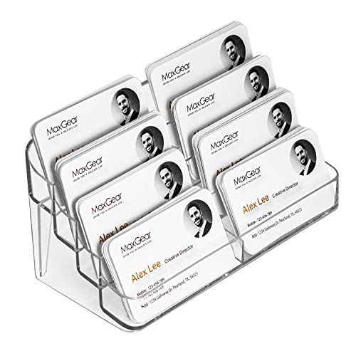 MaxGear Acrylic Business Card Holder for Desk Multiple Business Card Holders, Business Card Stand Business Card Display Holder, Clear Plastic Business Card Holder Display Office, 8 Pocket