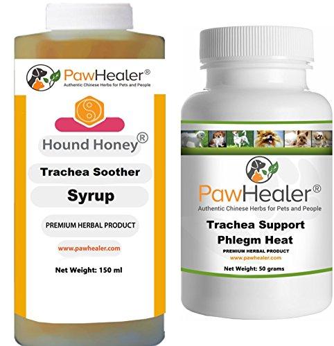 PawHealer Jarabe calmante para tráquea con Soporte para tráquea con remedio Herbal Natural para los síntomas de tráquea colapsada para Perros (1 Botella) 150 ml (1 Botella) 50 Gramos