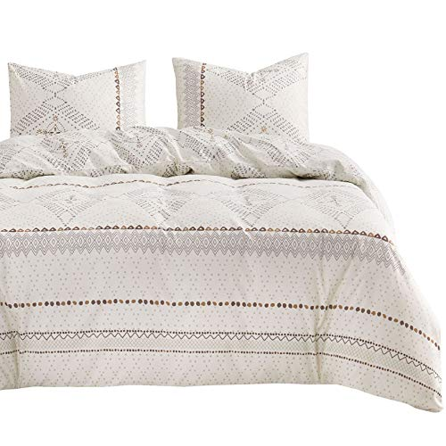 Wake In Cloud - Beige Boho Comforter Set, Aztec Diamond...