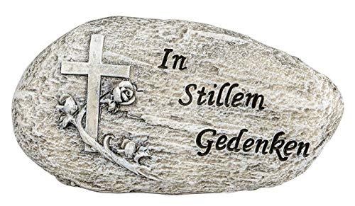 dekojohnson Grabschmuck Grabstein wetterfest mit Kreuz und Rosenranke mit der Aufschrift In stillem Gedenken Grabdekoration Deko-Stein antik grau 16cm