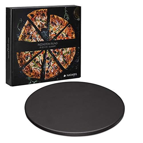 Navaris Pizzastein XL für Backofen Grill aus Cordierit - Pizza Stein Ofen Flammkuchen - Gasgrill Holz-Kohle Herd Teller rund 30,5cm - glasiert