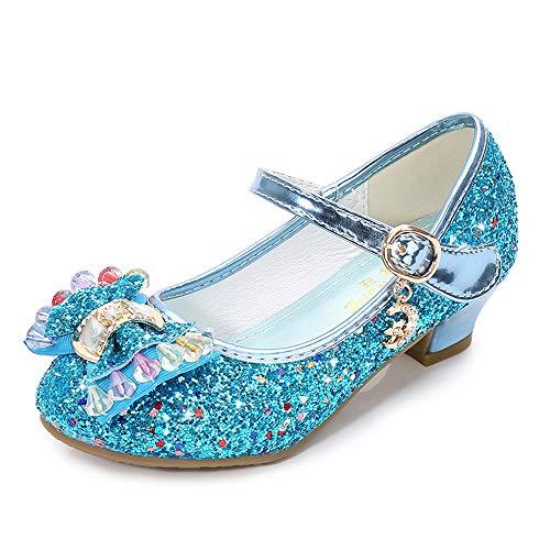 Lazzon Mädchen Prinzessin Schuhe Sandalen Glitzer mit Absatz Pumps Festliche Karneval Party Fasching Kostüm Zubehör Schuhe, Blau, Tag 31= EU 30--Foot Length 7.56 zoll