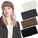 Tacobear 4piezas Diademas Mujer Invierno Diadema Diadema de Punto Caliente Turbante Banda Oido Calentador Otoño Invierno Accesorios para el cabello para mujer