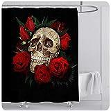 Michorinee Duschvorhänge Halloween Totenkopf Muster Wasserdicht Anti-Schimmel Schwarz Badezimmer Vorhang Rose Skelett Anti-Bakteriell für Badewanne 180 × 200 cm