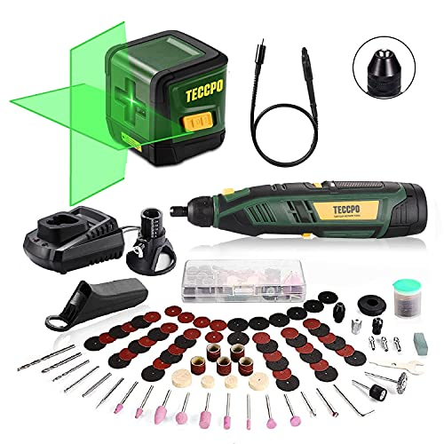 TECCPO Laser Level, Self Leveling, Green Cross Line Laser, 50ft Laser Tool, Tilt mode,±3mm/10m Leveling Accuracy + Cordless Rotary Tool, 12V Powerful Rotary Tool Kit, 1-Hour Fast Charger