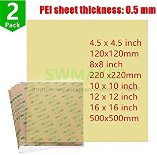 AiCheaX - 2pcs Ultem1000 Polyetherimide PEI Sheet with 468MP Adhesive Tape 10''/12''/16''/8''120/220/500mm for 3D Printer Build Surface - (Size: 8x8 inch)