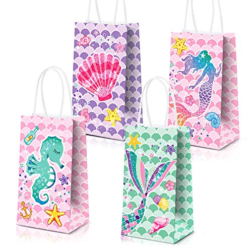 Mermaid Gift Bags Mermaid Party Supplies Favors Goodie Bag Glitter Treat Bags for Under the Sea Party Mermaid Gifts for Girls Set of 16