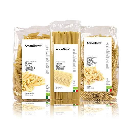 AmoreTerra (18 pz.) Pasta Senatore Cappelli Penne, Spaghetti ed Eliche Bio 500g, Grani antichi, artigianale biologica, trafila al bronzo, essiccata bassa temperatura