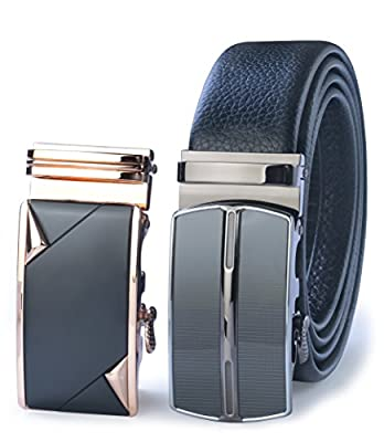 James Fiallo Men's 2-Pack Automatic Buckle Ratchet Leather Dress Belt