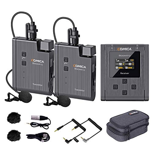 Wireless Lavalier Microphone,Comica BoomX-U2 48-Channel UHF Wireless Lapel Mic with 2 Transmitters...